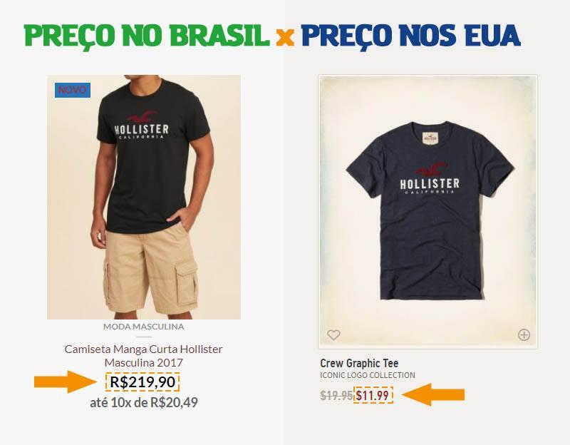 Hollister no Brasil vs Hollister nos Estados Unidos (preços de camisa comparados)