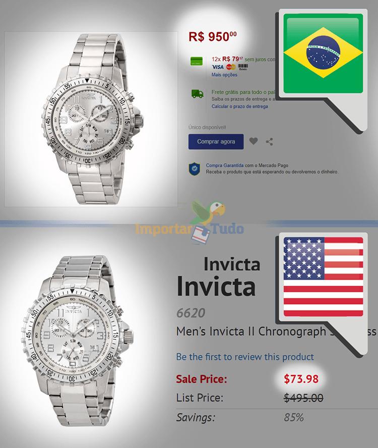77290fc0efe Comparação de preços de relógio invicta no Brasil contra o mesmo relógio  importado dos EUA