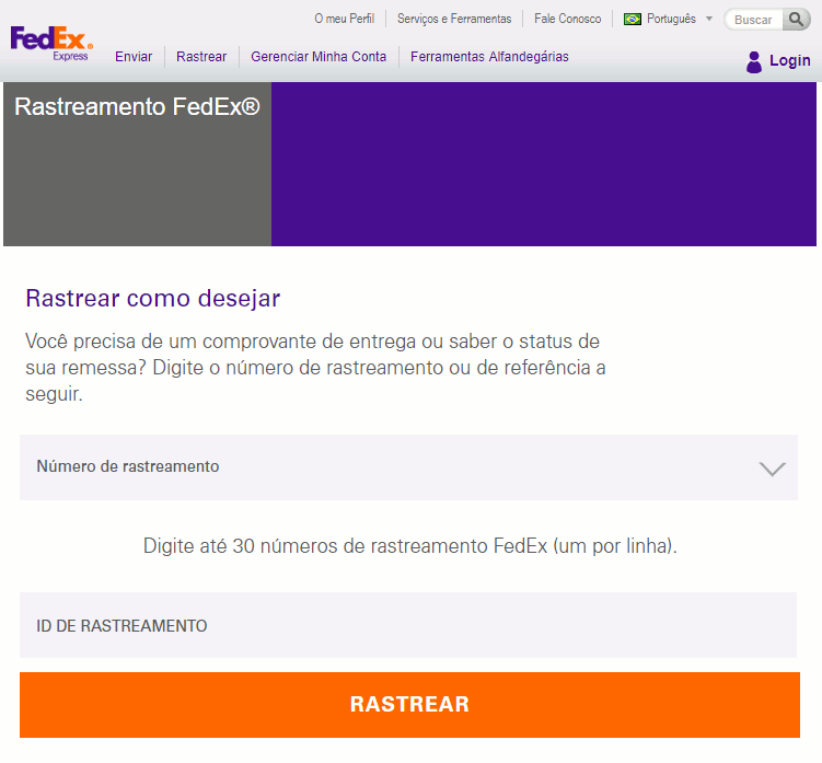 rastreamento fedex site