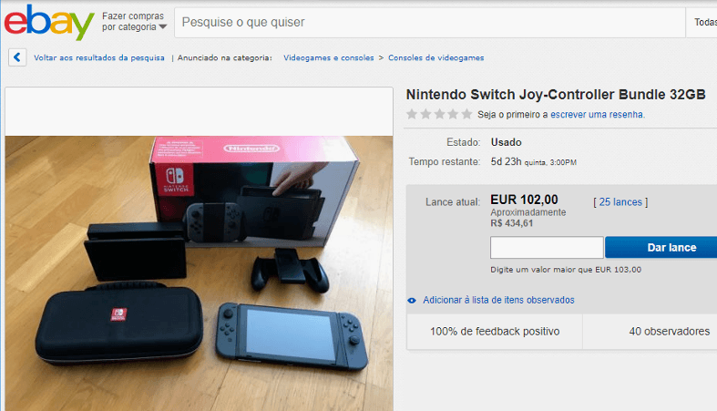 Nintendo Switch barato no Ebay