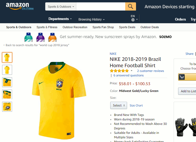 Camisa do brasil copa 2018 na Amazon