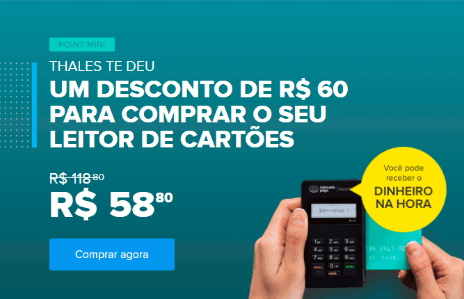 Point Mini do Mercado Pago com R$60 de desconto