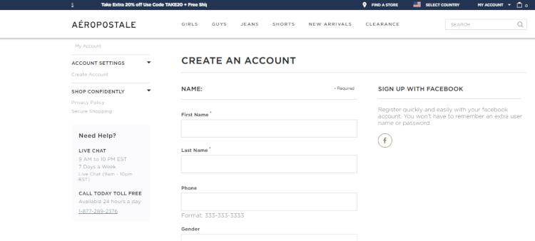 como criar uma conta no site oficial da aeropostale usa