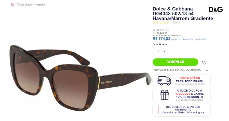 Quanto custa óculos dolce e gabbana no Brasil