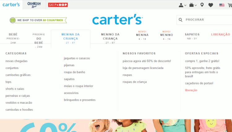 categorias e promoções na Loja Carters para importar produtos infantis