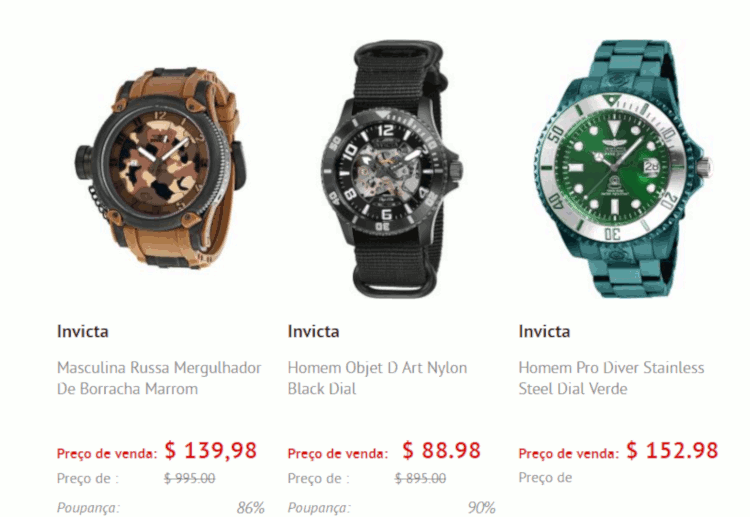 03 relogios invicta masculinos na world of watches importação