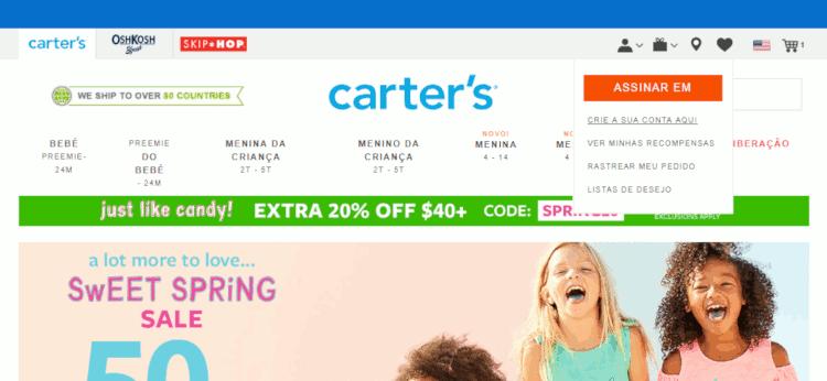 criando uma conta no site da carters para importar produtos para bebês