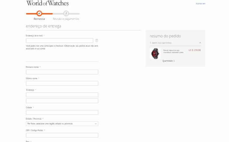 08 use endereço do redirecionador de encomendas na compra da world of watches relogios invicta