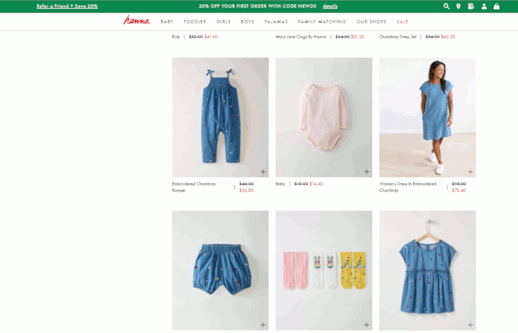 family matching na hanna anderson - roupas infantis