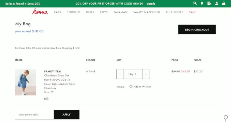 como concluir a compra no site de produtos infantis hanna anderson