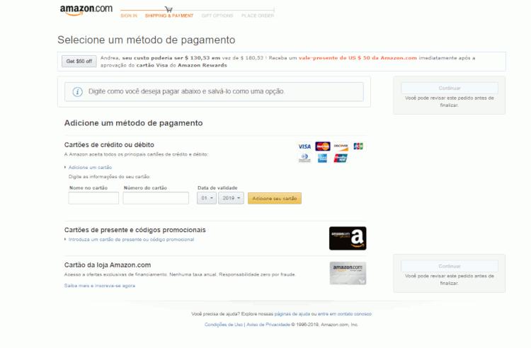 34 metodos de pagamento aceitos na loja amazon usa